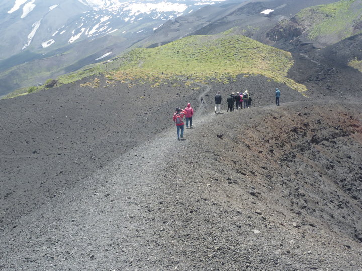 Walking Along the Mid Point of Mount Etna